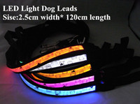 Wholesale rechargeable led dog collar online - B06 Pet dog LED leahses leads pet traction rope pull strap for dogs cats cm length battery and USB Rechargeable