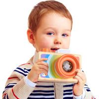 brinquedo de olho de abelha de madeira venda por atacado-Efhh câmera de madeira slr tipo caleidoscópio polígono prisma variedade efeito de olho de abelha para as crianças brinquedo transporte da gota