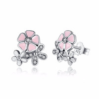 Wholesale Wholesale Pandora Cherry Blossom - 925 Sterling Silver Poetic Daisy Cherry Blossom Drop Earrings Mixed & Clear CZ Pink Flower Women Engagement Pandora Earrings