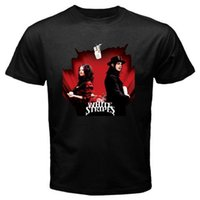 черные футболки с белыми полосами оптовых-The White Stripes * Get Behind Me Satan Pop Rock Мужская черная футболка Размер S-3XL Топы с коротким рукавом