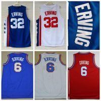 Wholesale red dr - Top Quality 6 Dr J Julius Erving Jersey Throwback College Basketball Jerseys 32 Julius Erving Mens Stitched Movie Jersey