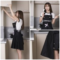 Wholesale new style aprons resale online - New Kitchen Apron with Big Skirt Soft Cotton Black Cat Shape Simple Style Fashion Home Dinning Aprons Accessories High End xs Y