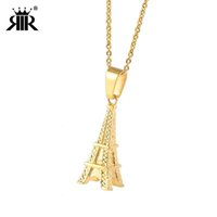 ingrosso charms della collana del tower di eiffel-RIR Tiny Eiffel Tower Charm Collana in acciaio inossidabile Europa vacanza francese Parigi fascino regalo a tema gioielli regali amicizia