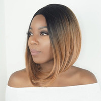 Wholesale Medium Length Straight Hair Wigs - for blacks Rockstar 7Colors Short Straight Ombre Synthetic Hair Wigs For Black Women Central Parting Cosplay Hair