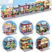 Wholesale Wholesale Toy Stores - 6set lot Mini Street Building Shops Pizza Hut Fruit Store Sport Shop Comestic Store Ice Cream Shop Blocks Street Stores Figures Toys