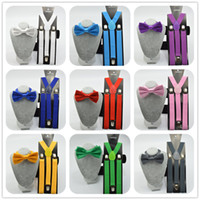 Wholesale wholesale suspenders for men - Unisex Adjustable Clip-on Braces Elastic Y-back Suspender and bow ties set for women   men wedding party