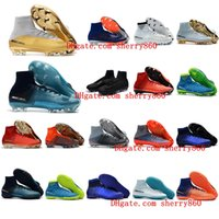 Wholesale Kids Cleats Shoes Soccer - 2018 cr7 Quinto Triunfo kids football boots youth boys soccer cleats mercurial superfly turf soccer shoes mens womens high top neymar boots