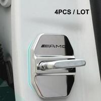 ingrosso coperture della porta-Decorazione per coperchio fibbia serratura auto in acciaio inox Car styling Adesivo 3D per logo GLG GLA GLA C E M classe AM