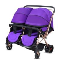 qualitätswagen baby großhandel-Hohe Qualität Zwillinge Kinderwagen High-Landschaft Kinderwagen Tragbare Falten Kinderwagen für Neugeborene Sitzen Liegen Kinderwagen bebek arabasi
