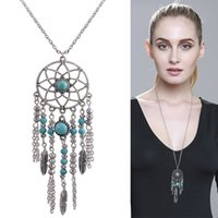 Wholesale birthday sweater - Sweater Necklaces Retro Bohemia Turquoise Beads Dream Catcher Feather Necklace Jewelry Pendant Birthday Gift Hot Sale 3 3gl T