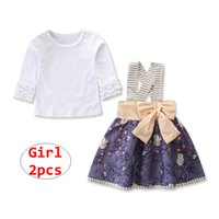 uzun beyaz etek için üst toptan satış-Kız Yaz 2 adet Set Bebek beyaz uzun kollu üstleri + 1-6 T için Çiçek Etek Kıyafet Çocuk Giyim Seti