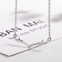 Wholesale Wholesale Antler Necklace - 2018 Retro fashion small fresh simple sweet little antlers Christmas Valentine alloy necklace clavicle chain Wedding jewelry 162638