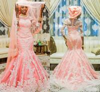 botones de media manga sirena al por mayor-Vestidos de novia sirena musulmán africano de encaje de rubor rosado con media manga con aplique nigeriano vestido de novia cubierto con botones