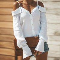 button neck shirt NZ - Women Blouses Autumn Slash Neck Feminine Blouse Shirt 2018 Button Up Long Sleeve Womens Tops and Blouses Ladies Top Female
