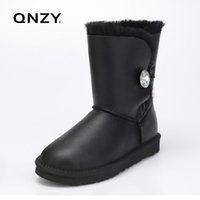 Wholesale snow boots sheep - QNZY Quality assurance 100%sheep skin wool waterproof snow boots female calf height winter flat boom warm Boots Free Shipping