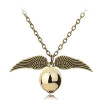 гарри стиль кулон ожерелье оптовых-Мода Гарри P ожерелье Мужчины Женщины винтажный стиль Крыло ангела очарование золотой снитч Ожерелье для Поттер кино вентиляторы аксессуары 20030A