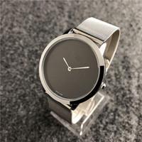 ince erkek saatler toptan satış-Relogio masculino siyah kol dropshipping 2019 yeni marka erkekler İzle Bilezik Ultra-ince erkek tasarımcı saatler daydate erkek kuvars saat