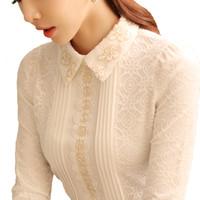 coreano largo encaje blusa al por mayor-Blusas de mujer de moda 2018 blusa de gasa camisas Otoño e invierno de Corea del cuello de muñeca manga larga de encaje ahueca hacia fuera la camisa de las señoras camisa OL
