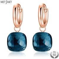 pendientes de oro topacio azul al por mayor-MetJakt Fashion London Blue Topaz Pendientes Sólido Plata de ley 925 y Oro Rosa Pendiente de Color para Mujer Regalo Fine JewelryY1883009