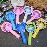 Wholesale smallest electric fans - Creative handheld mini electric fan Cartoon small student portable fan USB charging fan With night light T4H0327