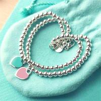 Wholesale onyx jewelry box - 925 Sterling Silver Blue Enamel Heart-shaped Pendant BRACELET Round Buddha Beaded Bracelet Women's Ornament Jewelry Wedding Gift