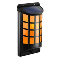 Wholesale lamp fire - 4 pack DHL shipping Solar Flame dancing Light Solar Powered Wall Lights 66 LED Porch Lamps Fire flickering lights