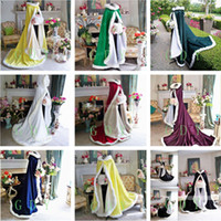 Wholesale Hooded Bridal - Bridal Cape Stunning Warm Wedding Cloaks Hooded with Faux Fur Trim Ankle Length Jacket Perfect for Winter Long Wraps Fall