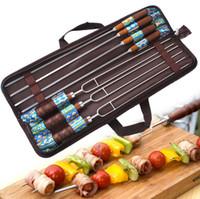 Wholesale needle skewer - 7Pcs Barbeque Skewers BBQ Kebab Roasting Camp Needle Fork Picnic Utensil Stainless Steel Wooden Handle LJJN8