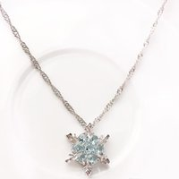 Wholesale wild flowers - Fashion Jewelry Blue Crystal Snowflake Frozen Flower 925 Silver Necklace Pendant Chain Sweet Style Wild spring and summer style