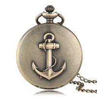 relógios âncora venda por atacado-Bronze Big Anchor Design Relógio De Bolso De Quartzo Colar Mulheres Homens Número Romano Marinheiro Relógios Pescador Moda Relógio De Bronze