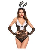seksi iç çamaşırı tavşan tavşanı toptan satış-Seksi tavşan kız Ayarlanabilir sling sexy lingerie Ayarlanabilir sling lingerie Göğüs yay dekorasyon Tavşan Kulak Saç Aksesuarları