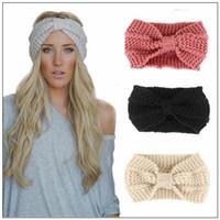 senhoras inverno acessórios venda por atacado-14 Cores Mulheres Lady Crochet Bow Nó Turbante Cabeça De Malha Envoltório Hairband Inverno Ear Warmer Headband Faixa de Cabelo Acessório de Cabelo CCA8966 50 pcs