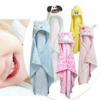 Wholesale kids blankets cartoons - 27 styles 96*76cm Baby Blankets cartoon animal Blanket infant Swaddling kids Animal Hooded cloak bath towel GGA414 12PCS