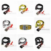 ingrosso cinture di tela gialla-17SS C / O Cintura Giallo Nero Lettere BELT Bottone in metallo Unisex Hip Hop Swag Uomini di marca Cintura tessuta 13 Stili HFLSYD007