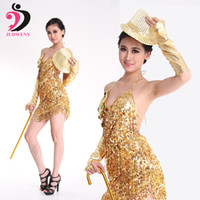 ingrosso uniformi di costumi da ballo-Vestito da ballo latino Donna Tassel Costumes Oro Argento Verde Rosso Latino per prestazioni Lucido Danza Uniforme Nessun cappello Stick