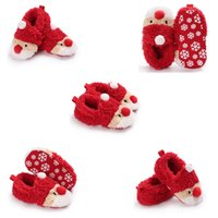 bebé niño zapatillas de navidad al por mayor-2019 Fashion Christmas Unisex Warm Baby Slippers recién nacido First Walkers Prewalker XMAS Baby Girls Botines Winter Boy Shoes