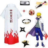 Wholesale naruto cosplay for sale - Asian Size Japan Anime Naruto th Yondaime Namikaze Minato Halloween Cosplay Hokage Red Cloud Costume Overcoat Cloak