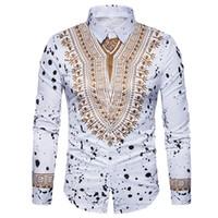 geleneksel basılı elbiseler toptan satış-3D Baskı Gömlek Erkekler 2017 Geleneksel Afrika Dashiki Erkekler Gömlek Uzun Kollu Slim Fit Casual Erkek Gömlekler Camisas Masculinas