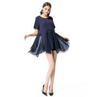new summer transparent dress بالجملة-2018 النساء ملابس البوليستر صيف جديد تنورة أزياء الساخنة اللباس الاتجاه قصيرة الأكمام غير النظامية شفافة الشيفون الملابس النسائية