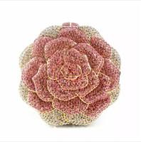 bolso de noche rosa roja al por mayor-Crystal Rose Diamond bolso de embrague bolso Rhinestone el más nuevo bolso de noche monedero rojo forma floral bolsas de hombro