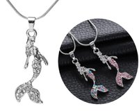 Wholesale trendy sweaters for women - Trendy Crystal Rhinestone Mermaid Statement Pendant Necklace For Women Girl Jewelry Fashion Sweater Accessories Free DHL D468L