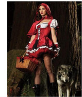 Wholesale Adult Halloween Capes - SEXY Halloween Adult Little Red Riding Hood Costume HenParty Cosplay Dress with Long Cape