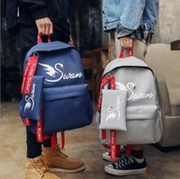Wholesale black swan blue - Swan Pattern Teenage Backpack Cartoon Printed Canvas Shcoolbag Travel Leisure Laptop Backpacks Floral Printed School Bag 2pcs set OOA4043