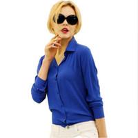 0707c98f8e8e07 Wholesale black women red blouse white collar for sale - 1PC Women Chiffon  Blouse Long Sleeve