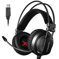 Wholesale Usb Laptop Headset - Gaming Headset 7.1 Sound Over-ear Headphone Earphone USB with Microphone Bass Stereo Laptop Computer Brand Xiberia V10U