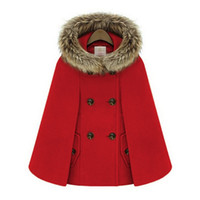 Wholesale wool capes cloaks for sale - New Retro Winter Coats For Women British Style Cap Shawl Cloak Cape Femme Women Wool Coat A872