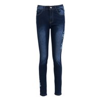 цветочные карандаши оптовых-Skinny Jeans Women Flower Embroidered High Waist Pencil Pants Side Flower Jeans Long Trousers Denim Pants