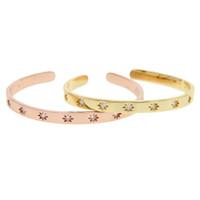 braceletes do projeto elegante venda por atacado-Hot moda Estrela flor Mulheres Pulseiras Pulseiras Open Cuff Design 2 Cores Cristal cz Pulseiras para Womens elegante Presente de Casamento