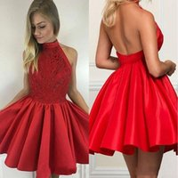 Wholesale open back beaded cocktail dresses resale online - 2019 Fall Red Homecoming Dresses High Neck Sexy Open Back Satin Lace Red Short Prom Dresses With Beaded A Line Cocktail Gowns BA9627