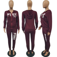 Wholesale leggings zip - Love Pink Women's Sports Suit Pants Hoodies Set Printed Long-sleeve Zipper Hooded Sweater Leggings Suit Ladies Jogging Tracksuits Plus Size